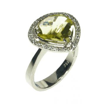 טבעת זהב סיטרין ויהלומים מדגם Ponte