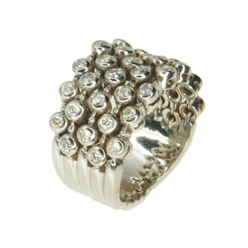 Gold and diamond inlay ring