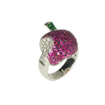 טבעת תפוח ספיר ויהלומים מדגם Apple