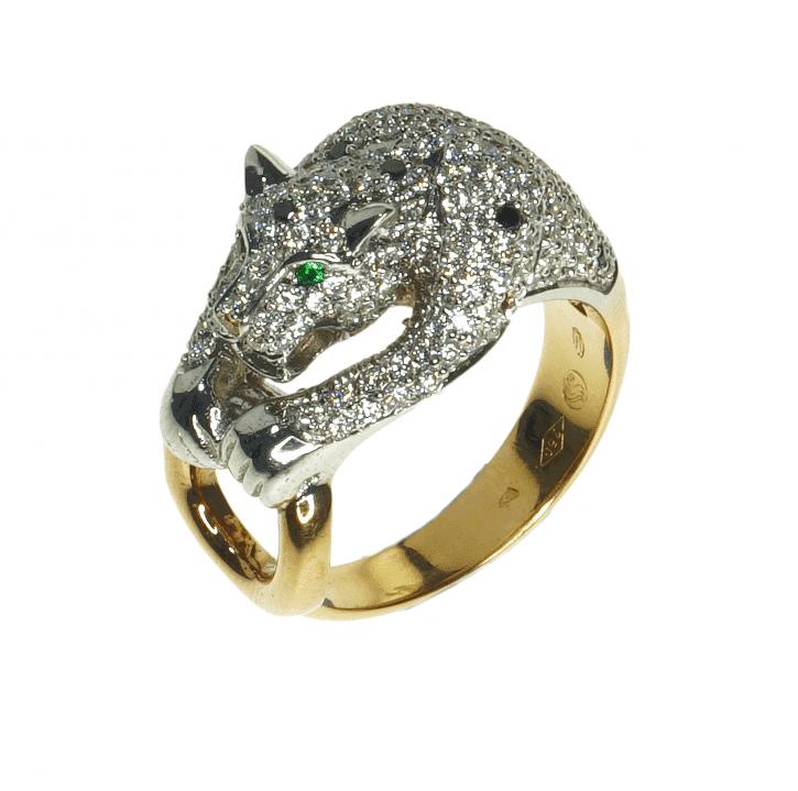 A diamond ring shaped like a tiger