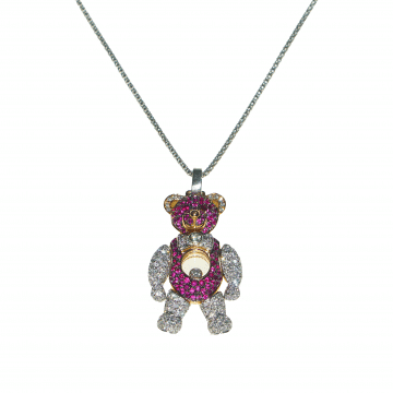 Diamond teddy bear-like pendant