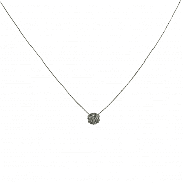 Gold square necklace and flower-shaped diamond pendant