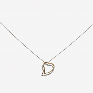Heart-shaped pendant made of gold and diamonds