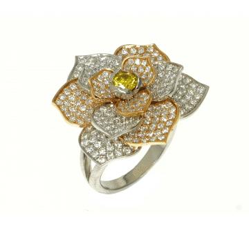 טבעת פרח זהב ויהלומים מעוצבת, מדגם Coleus