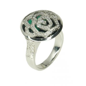 טבעת טורמלין ויהלומים מעוצבת מדגם Candytuft