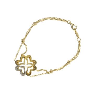 צמיד לבבות יהלומים משולבים מדגם Guadio