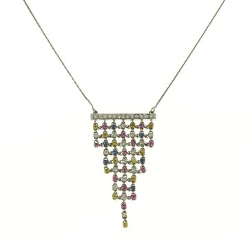 שרשרת אבני ספיר ויהלומים מעוצבת מדגם Pyramid
