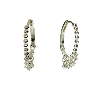 עגילי חישוק עם יהלומים מתנדנדים מדגם Opal