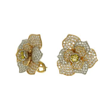 עגילי פרח יהלומים מדגם Coleus