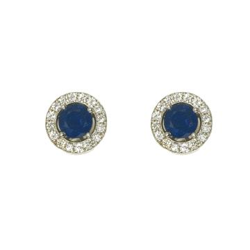 עגילי ספיר כחולות ויהלומים מדגם Granella