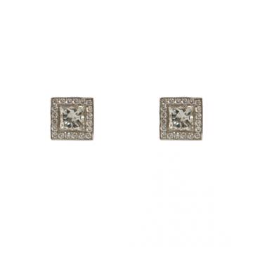 עגילי יהלומים צמודים מדגם Square