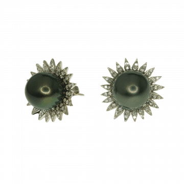 עגילי פניני טהיטי ויהלומים מדגם Sunflower